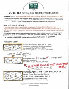 Vote YES for our Skid Row Neighborhood Council!  - UPLIFT Skid Row @ James Wood Community Center | Los Angeles | California | United States