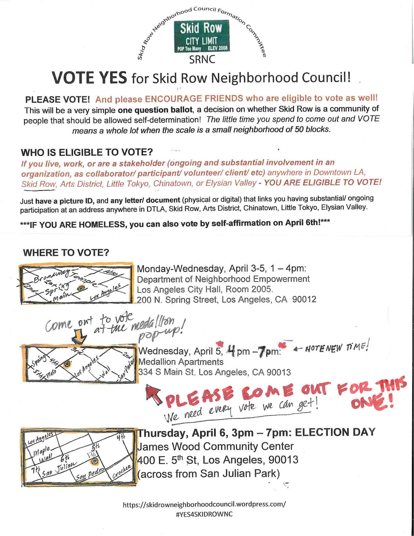 Vote YES for our Skid Row Neighborhood Council